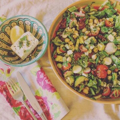 feta, broadbean salad
